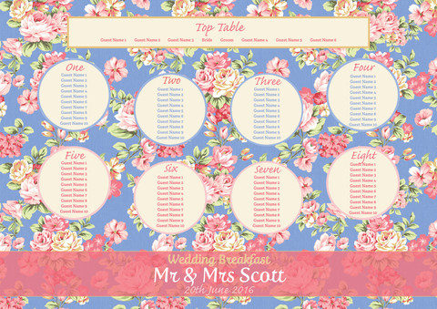 Pretty Blue Floral Table Plan