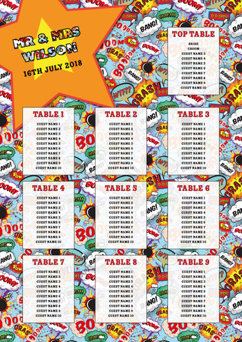 Comic Book Table Plan