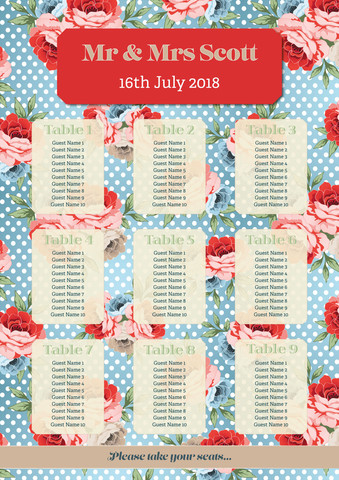 Red & Blue Floral Table Plan
