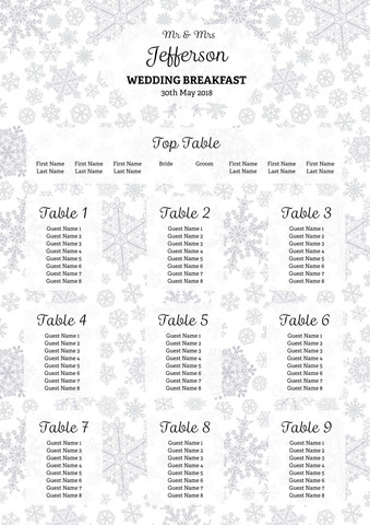 Winter Winter Table Plan